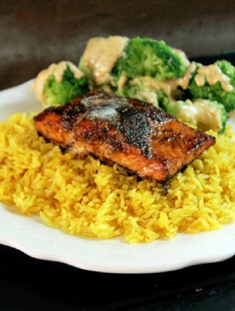 Blackened Salmon with Yellow Rice & Broccoli with Gorgonzola Cream Sauce-Creole Contessa