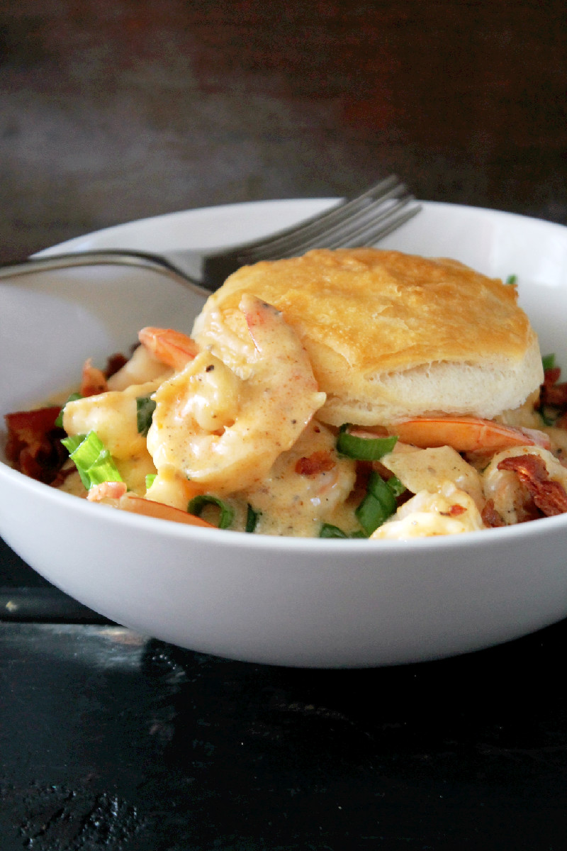 Cajun Shrimp and Biscuits with Bacon-Creole Contessa