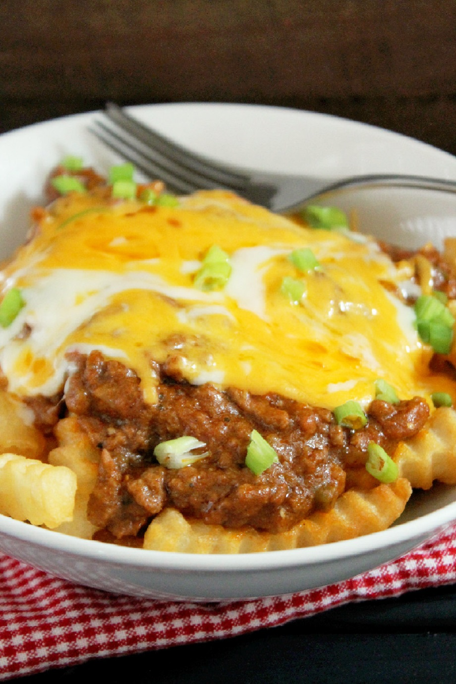 Slow Cooker Chili Con Carne Cheese Fries