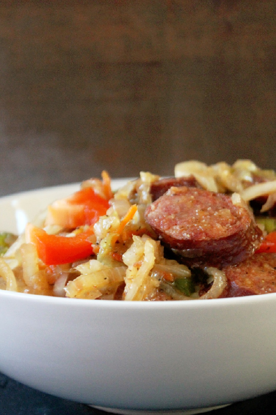 smothered cabbage with smoked sausage and peppers (2)
