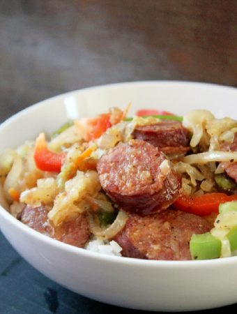 Smothered Cabbage with Smoked Sausage and Peppers