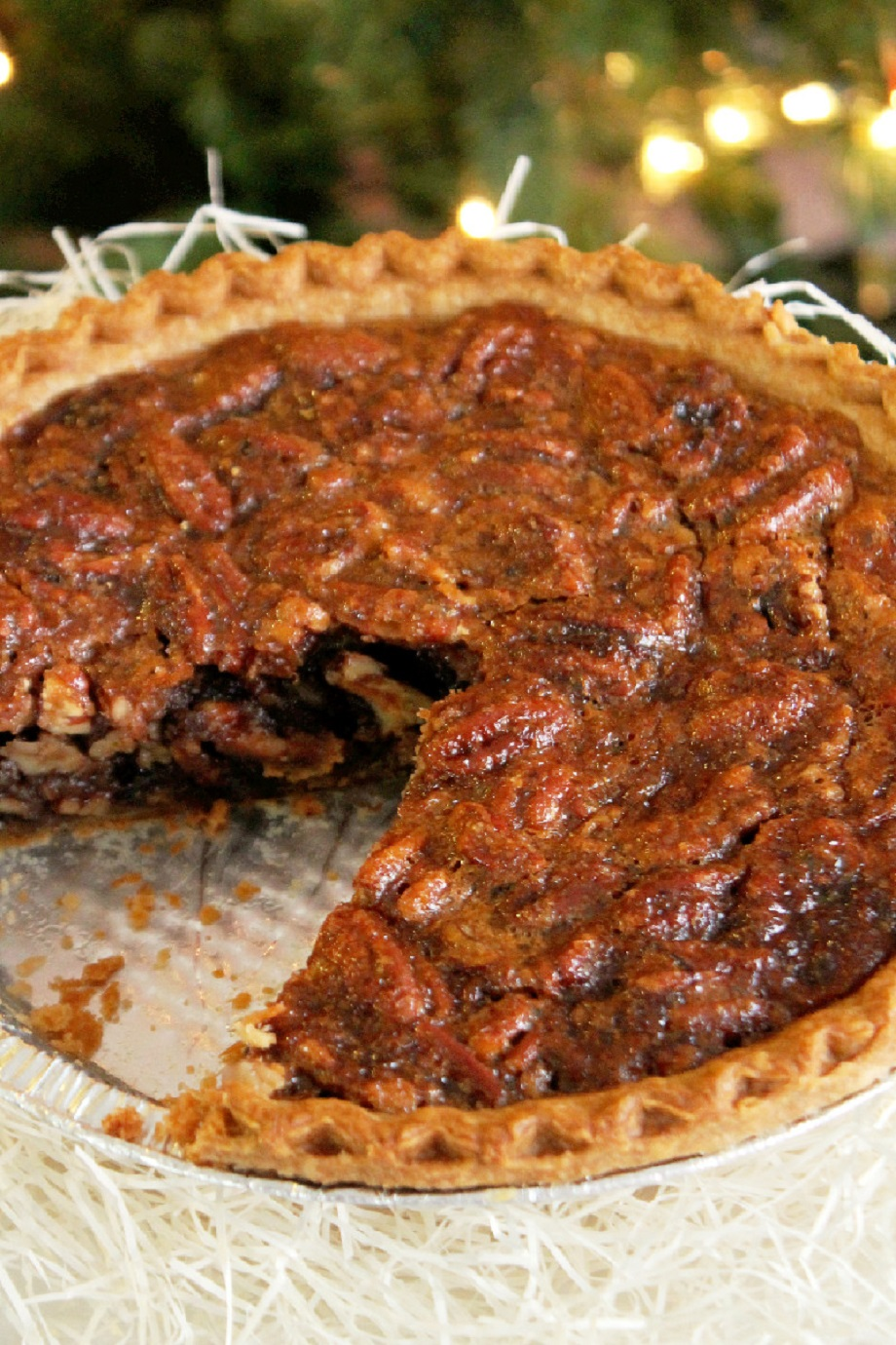... big piece of Pecan Pie with a large glass of ice cold organic milk
