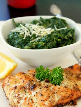 Pan Roasted Salmon with Creamed Spinach-Creole Contessa