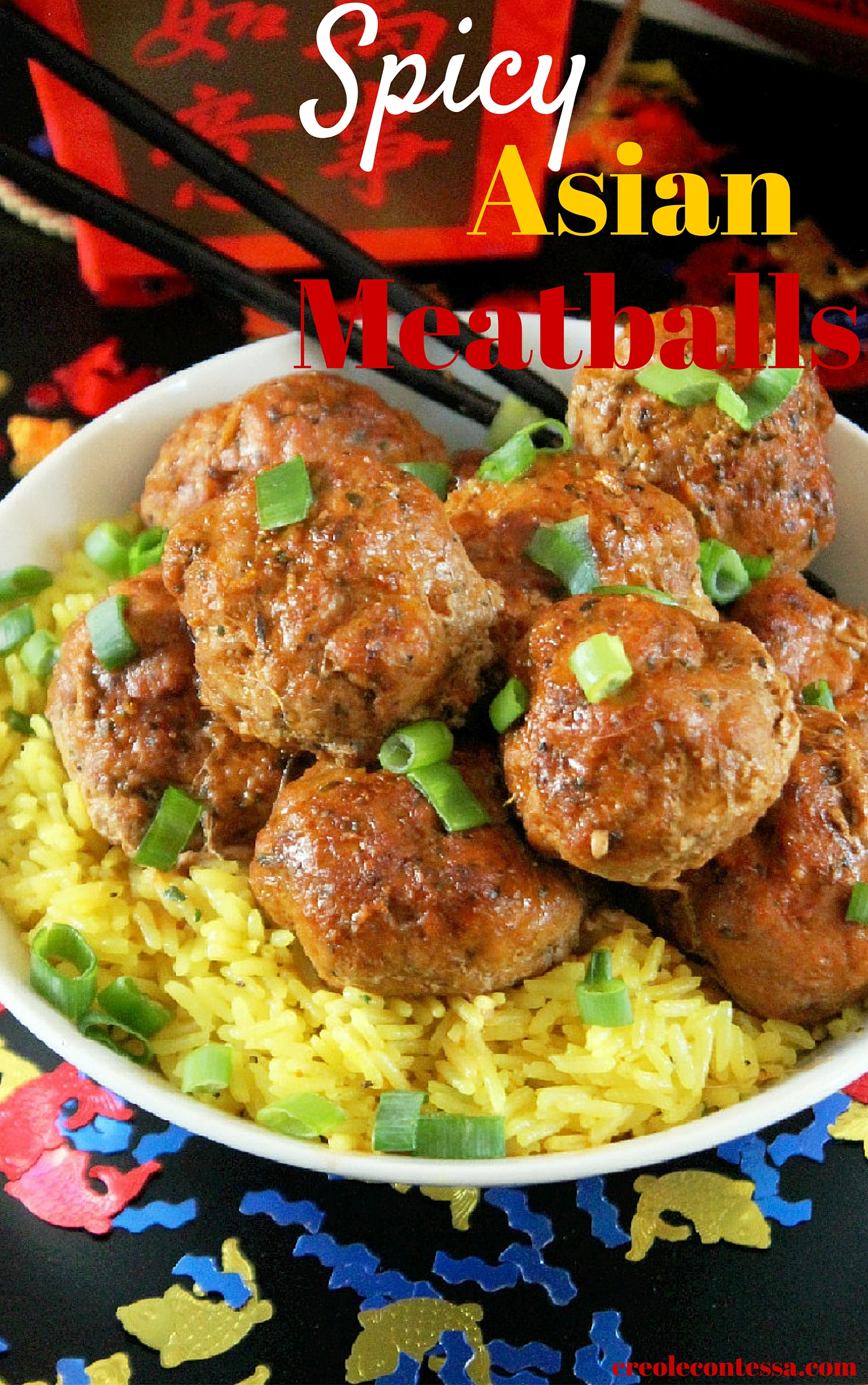 Spicy Asian Meatballs-Creole Contessa