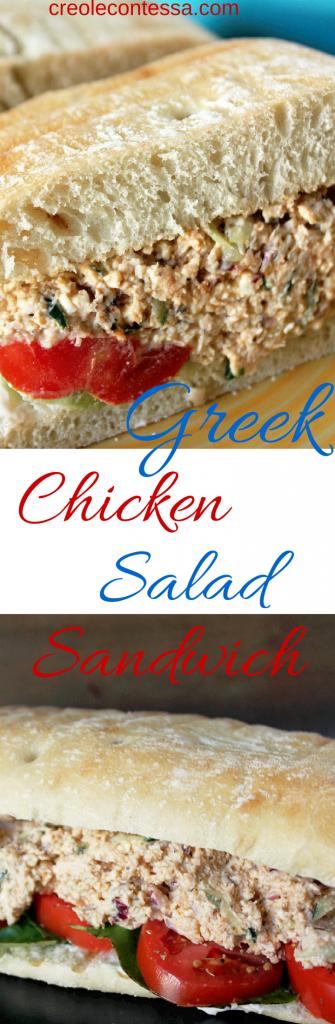 Greek Chicken Salad Sandwich -Creole Contessa