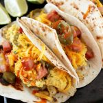 Breakfast Tacos with Potatoes, Ham, Egg, & Cheese
