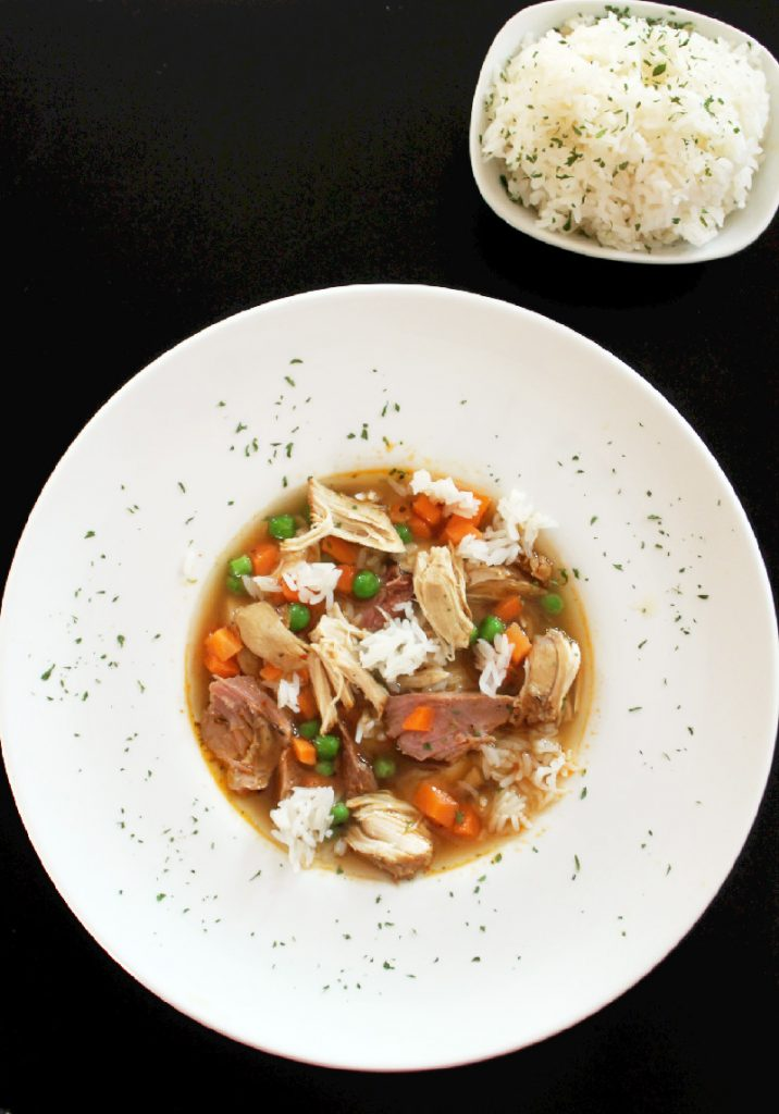 Slow Cooker Chicken Soup with Smoked Turkey and Success® Rice-Creole Contessa