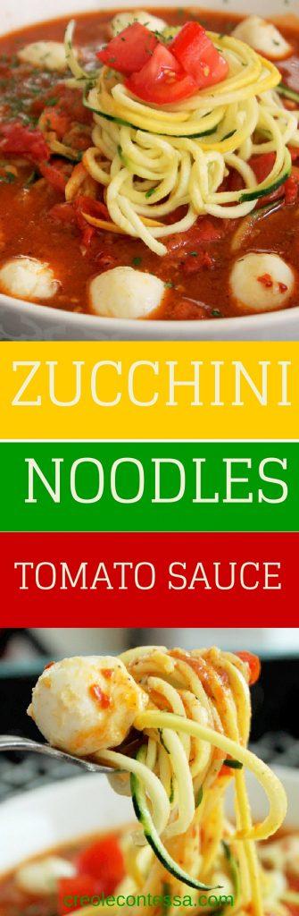 Zucchini Pasta with Tomato Sauce-Creole Contessa