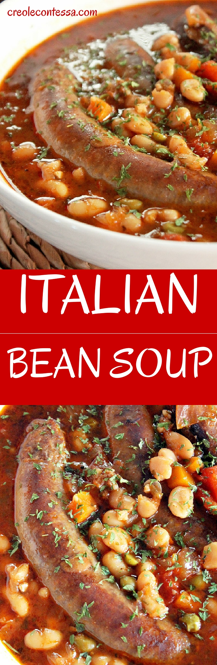 Slow Cooker Italian Bean Soup with Sausage-Creole Contessa