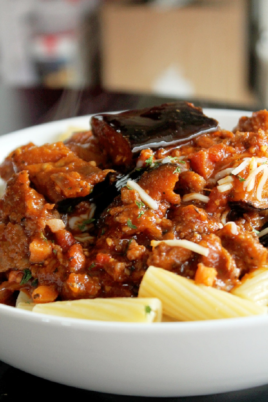 Pasta with Roasted Eggplant, Sausage, and Pancetta-Creole Contessa