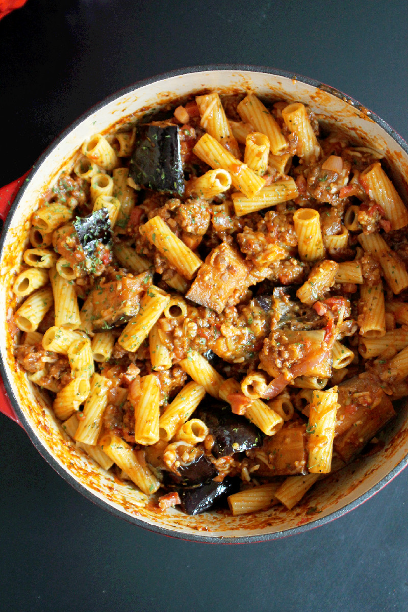 Pasta with Roasted Eggplant, Sausage, and Pancetta -Creole Contessa
