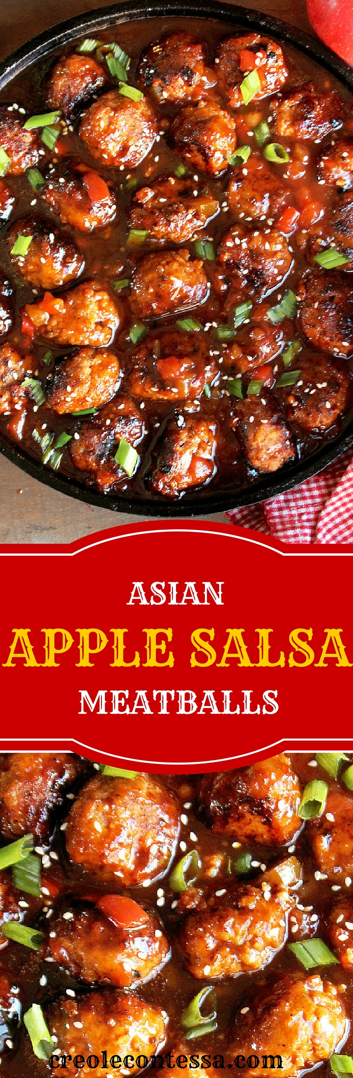 Asian Apple Salsa Meatballs -Creole Contessa