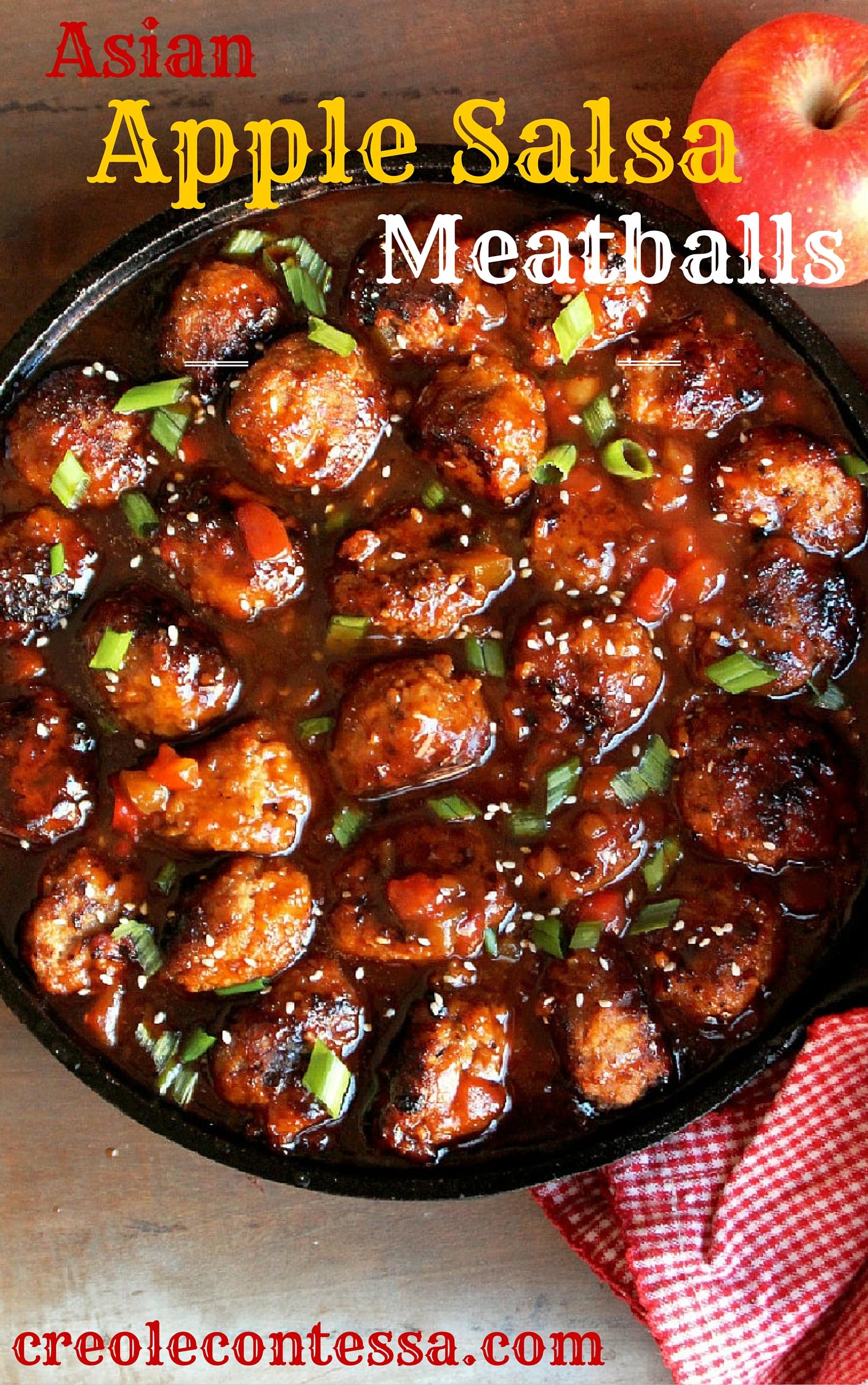 Asian Apple Salsa Meatballs -Creole Contessa