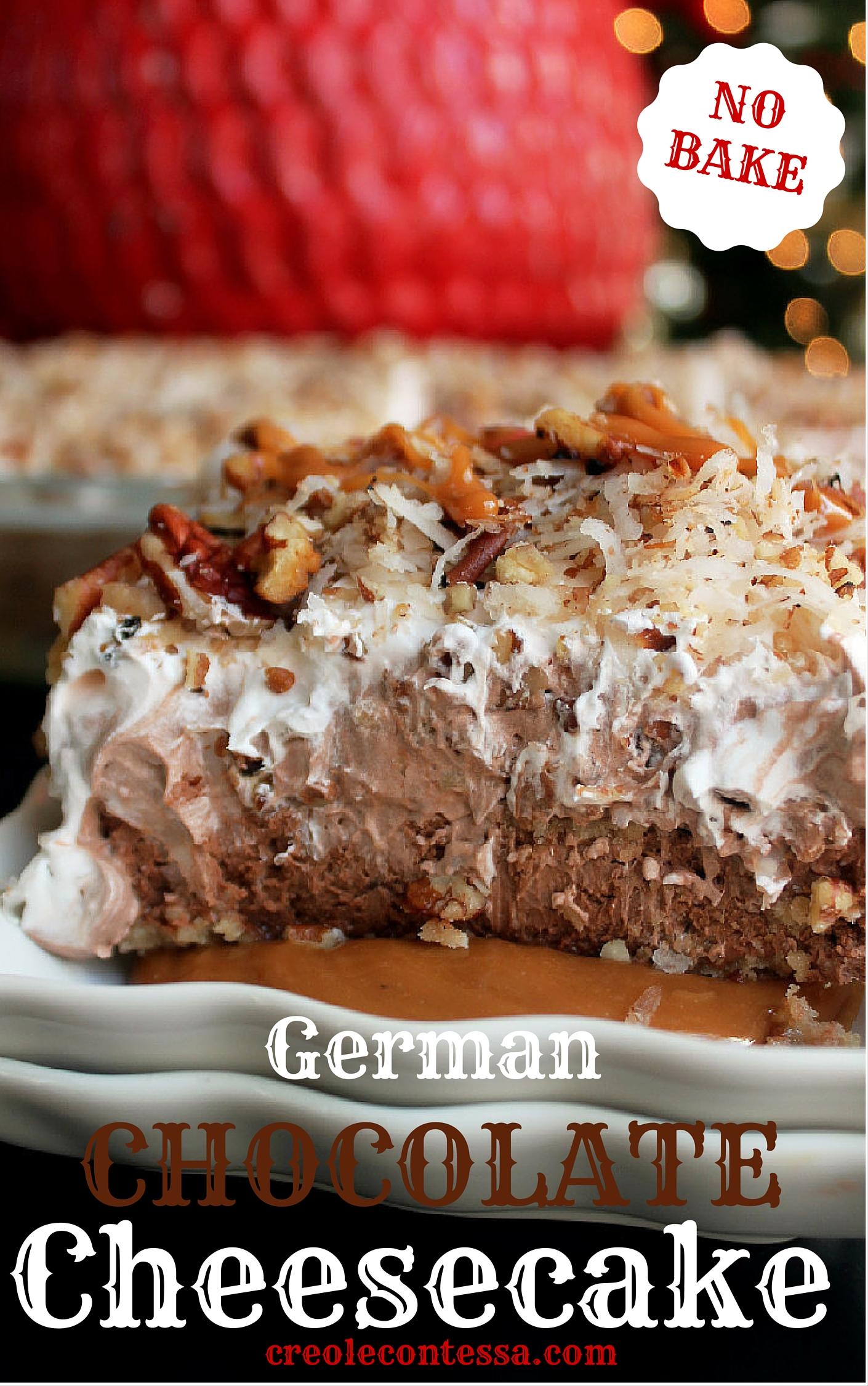 No Bake German Chocolate Cheesecake -Creole Contessa