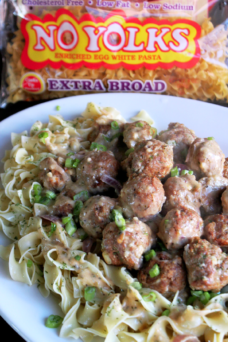 Greek Salisbury Steak Meatballs with No Yolks® Noodles-Creole Contessa