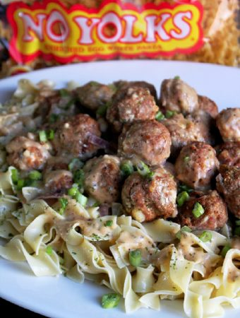 Greek Salisbury Steak Meatballs with No Yolks® Noodles