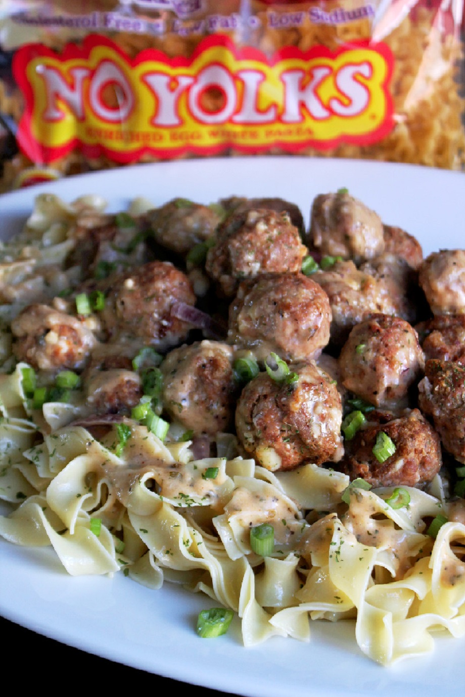 Greek Salisbury Steak Meatballs with No Yolks® Noodles-Creole Contessa