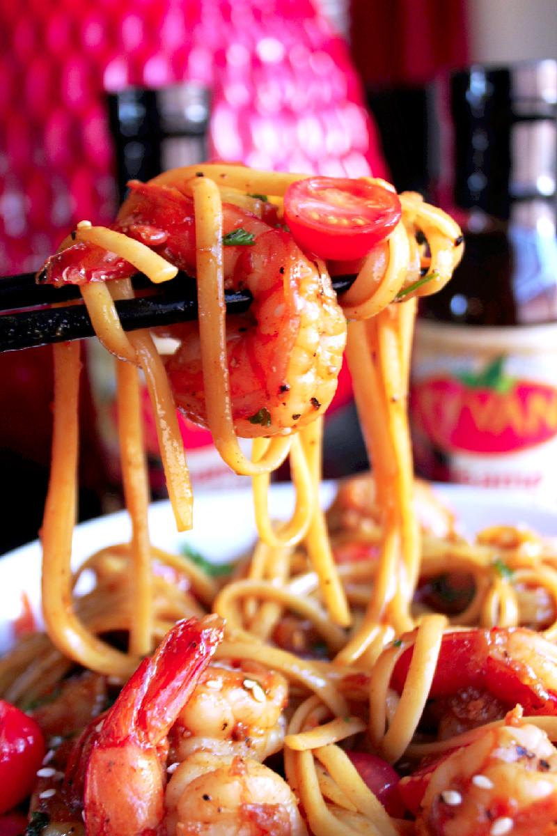 Asian BBQ Shrimp and Chicken Scampi-Creole Contessa