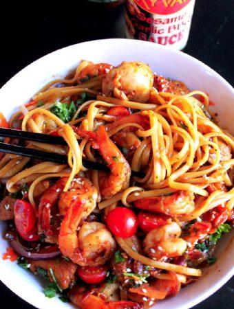 Asian BBQ Shrimp and Chicken Scampi