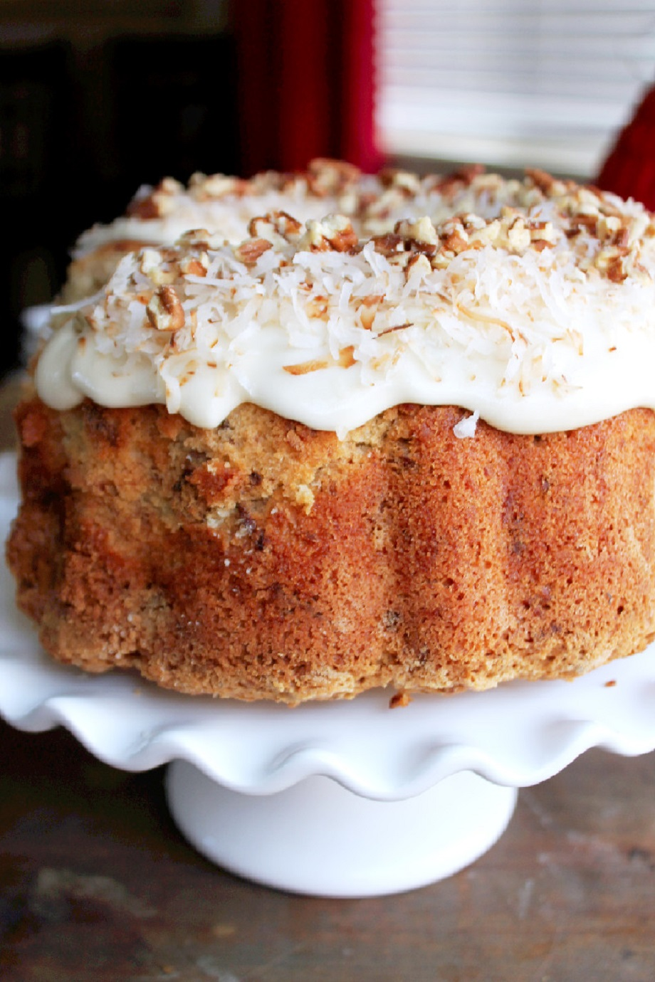 Coconut Pecan Pound Cake With Coconut Cream Cheese