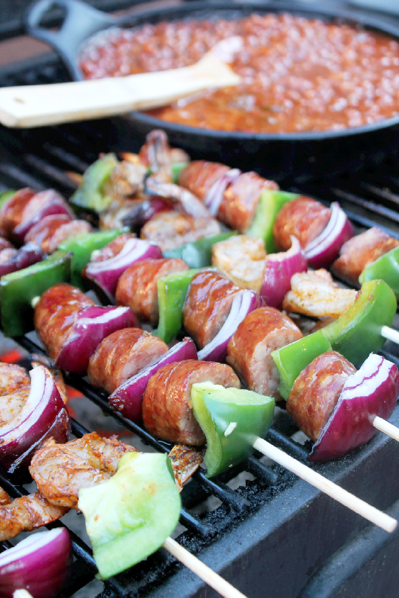 Grilled Shrimp and Andouille Sausage Kabobs-Creole Contessa