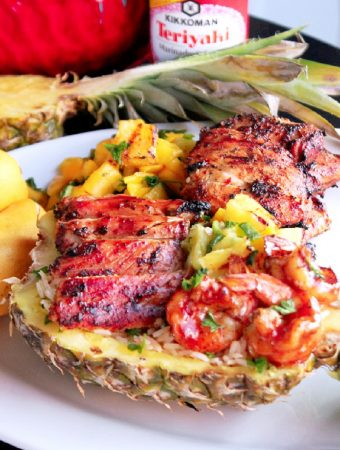 Grilled Chicken and Shrimp Hawaiian Bowls with Kikkoman