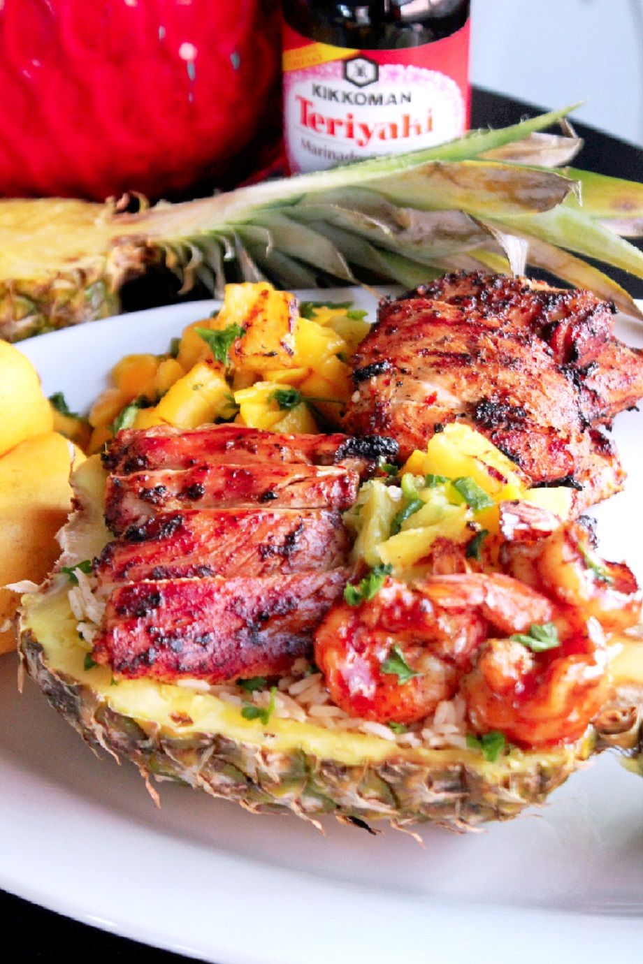 Grilled Chicken and Shrimp Hawaiian Bowls-Creole Contessa