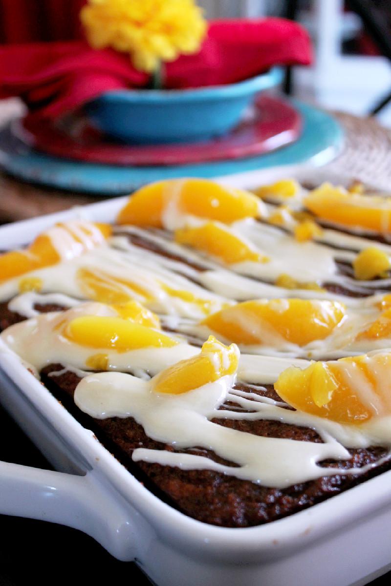 Peach Banana Bread with Cream Cheese Glaze-Creole Contessa