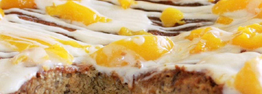 Peach Banana Bread with Cream Cheese Glaze