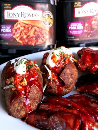 Pulled Pork Stuffed Potatoes with Tony Roma's