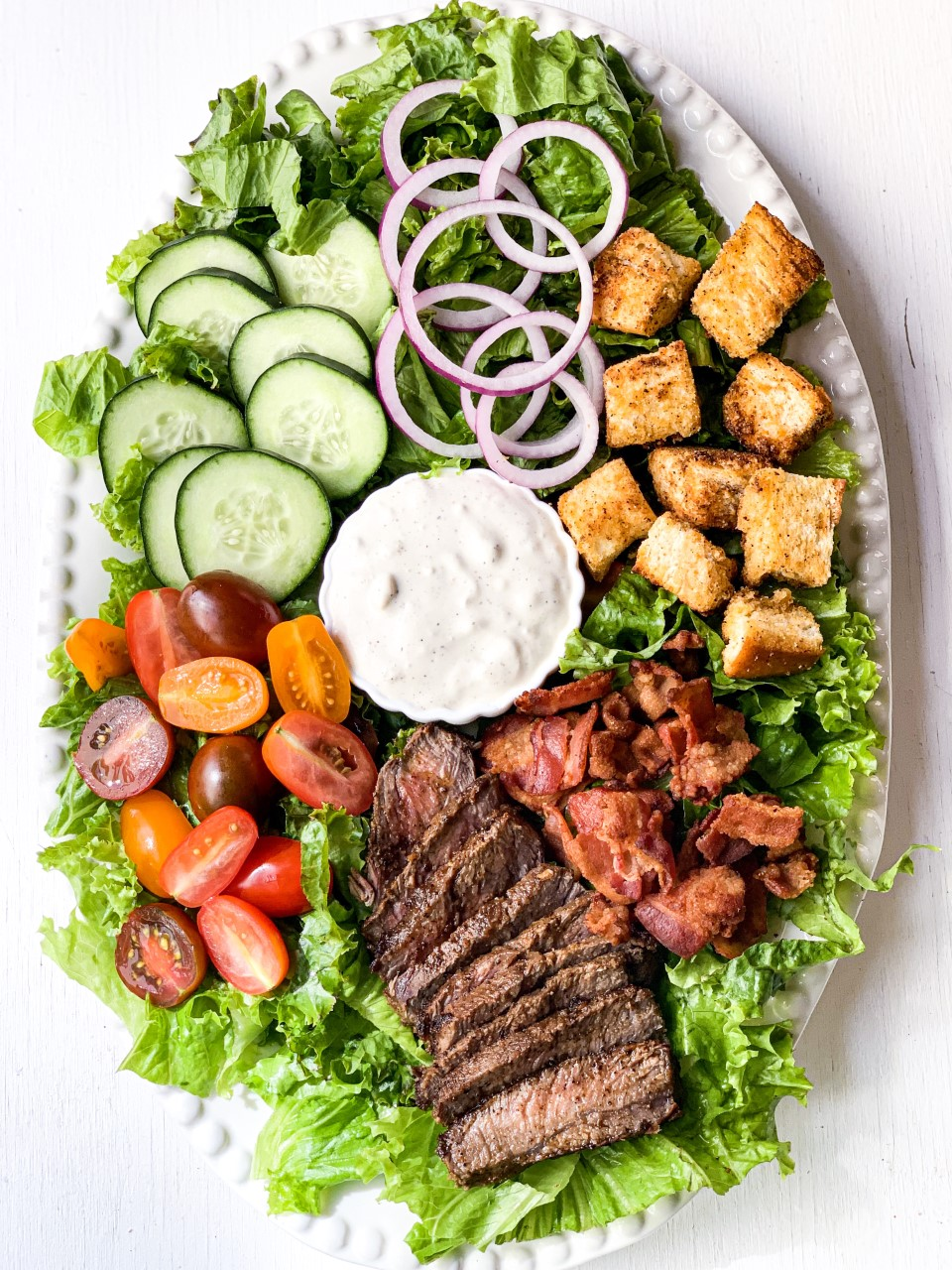 Steak Salad with Blue Cheese Buttermilk Dressing